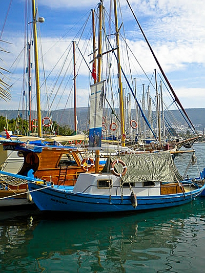 Turkish Sponge Diver boat tied to a dock