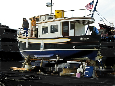 An American trawler from Wilmington, Delaware in dry dock at Bodrum Marina