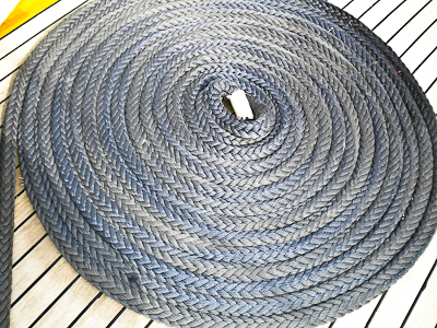 Coiled Rope on the deck of a Gulet