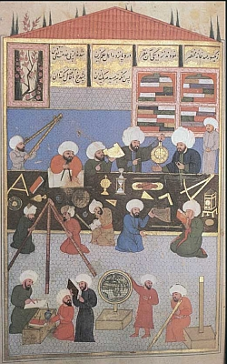 16th century Turkish miniature painting of the royal astronomers
